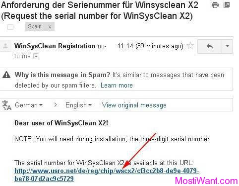 WinSysClean X2 Registration Activation Link