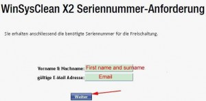 WinSysClean X2 Free Giveaway Registration Page