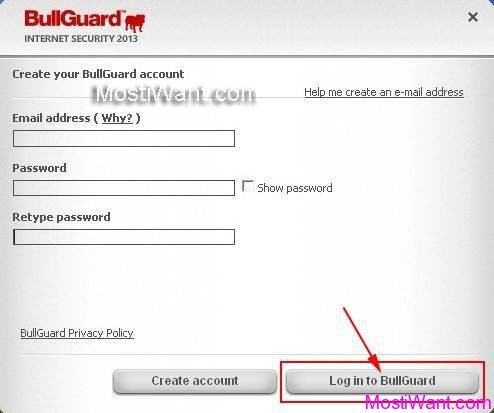 Create BullGuard Account
