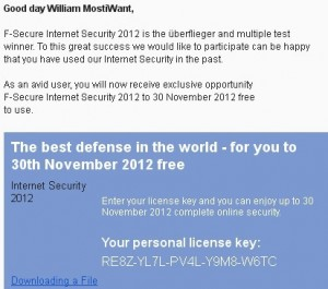 F-Secure Internet Security 2012 Free License Subscription Key
