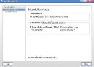 F-Secure Internet Security 2012 Subscription Status