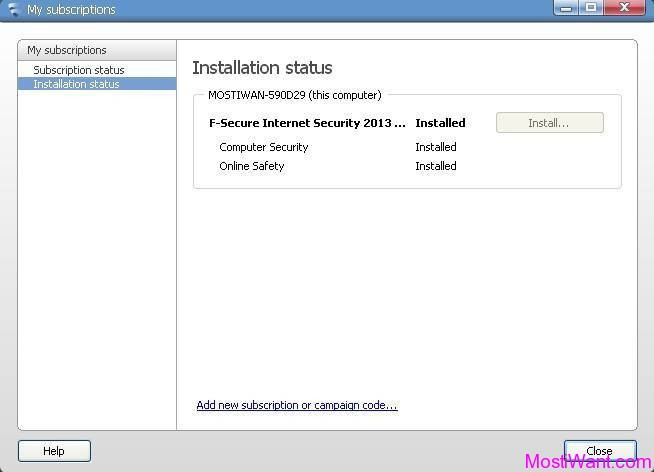 F-Secure Internet Security 2013 Installation Status
