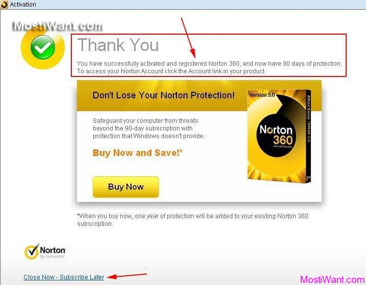Norton 360 V5 Free 90 days OEM trial Activation