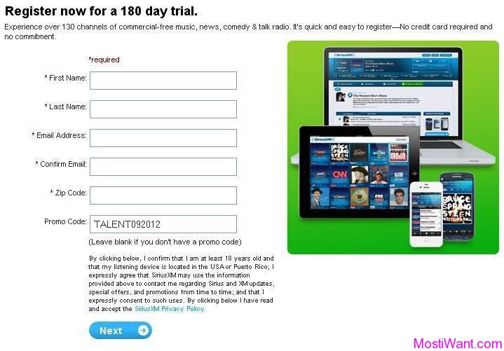 SiriusXM Internet Radio FREE 6-Month Trial Subscription