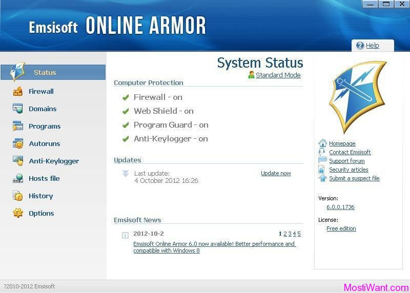 Emsisoft Online Armor 6.0 Free Personal Firewall