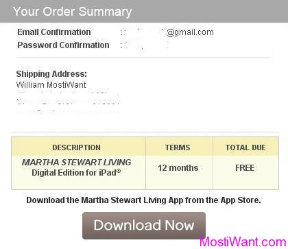 Martha Stewart Living Magazine (iPad Digital Edition) Free 12-Month Subscription