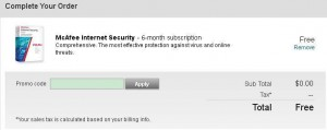 McAfee Internet Security 2013 Free 6 Months Subscription
