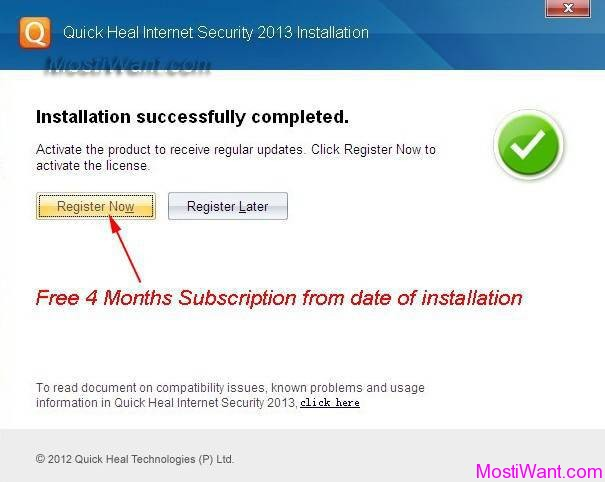 Quick Heal Antivirus Pro 2013 Free 4 Months Product Key