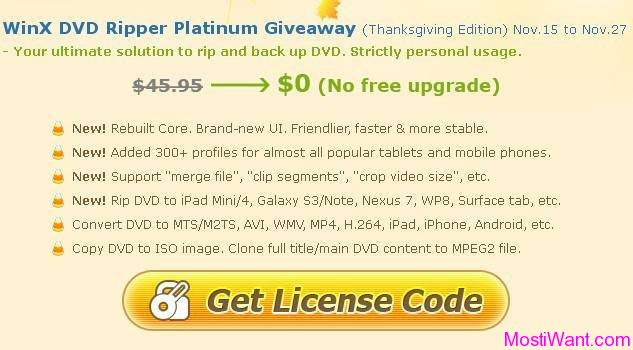 WinX DVD Ripper Platinum Giveaway Thanksgiving Edition