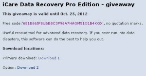iCare Data Recovery Pro Edition Free Giveaway