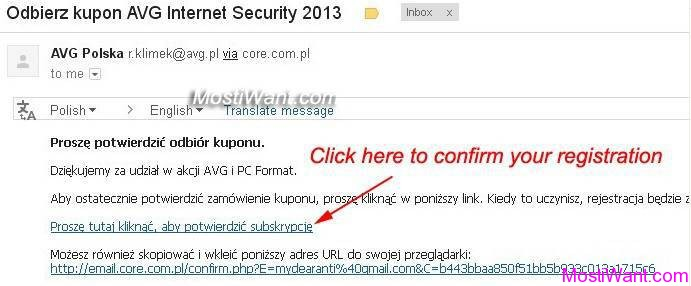 AVG Internet Security 2013 Registration Confirm