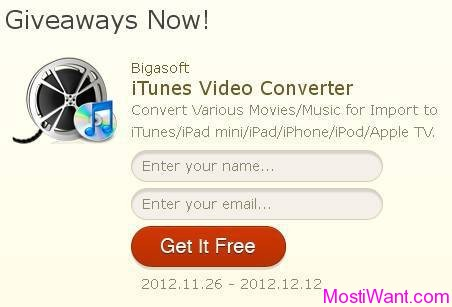 Bigasoft iTunes Video Converter Free Giveaway