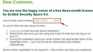 Dr.Web Security Space Pro 8.0 Serial Number