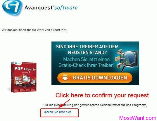 Avanquest PDF Experte 9 Ultimate License Request Confirmation
