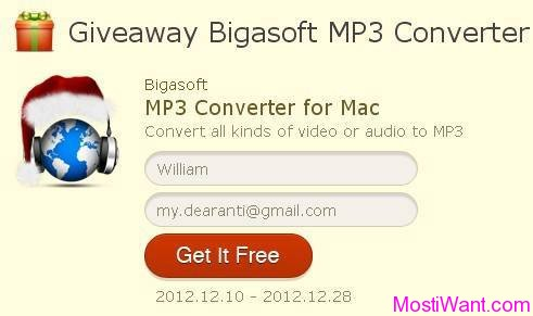 Giveaway Bigasoft MP3 Converter for Mac