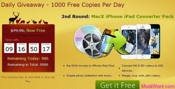 MacX iPhone iPad Converter Pack For Free