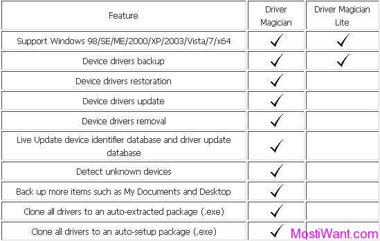 Difference between Driver Magician and Driver Magician Lite