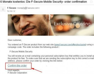 F-Secure Mobile Security- order confirmation