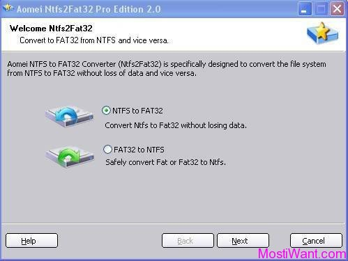 Aomei NTFS to FAT32 Converter Pro Edition