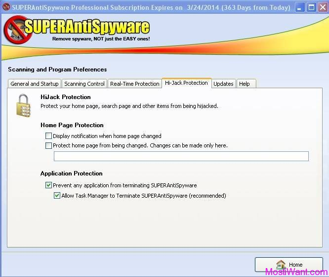 SUPERAntiSpyware Professional 5.6 Hi-Jack Protection Tab