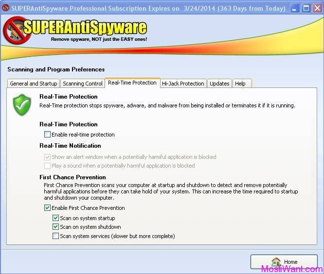 SUPERAntiSpyware Professional 5.6 Real-Time Protection Tab