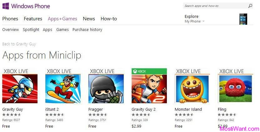 Xbox Games from Miniclip for Windows Phone