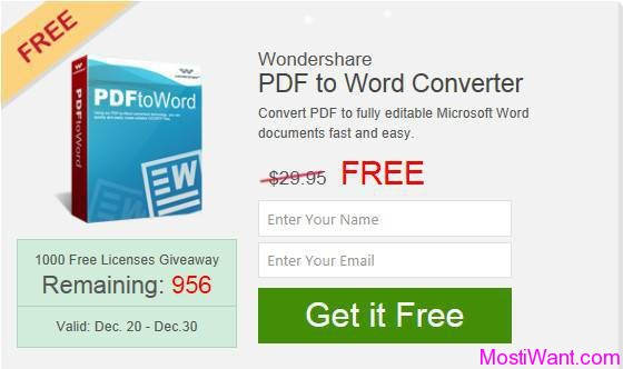 Wondershare PDF to Word Converter Free Giveaway