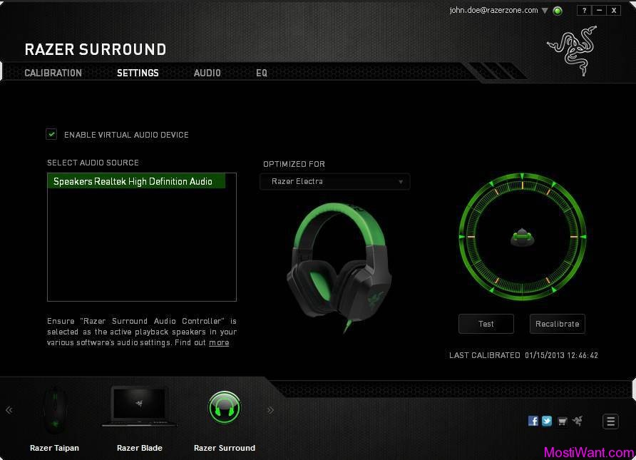 Razer Surround 7.1 Virtual Surround Sound Software