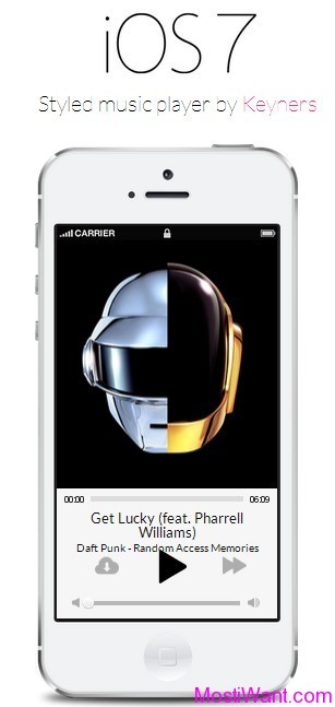 iOS7 Styled Music Player
