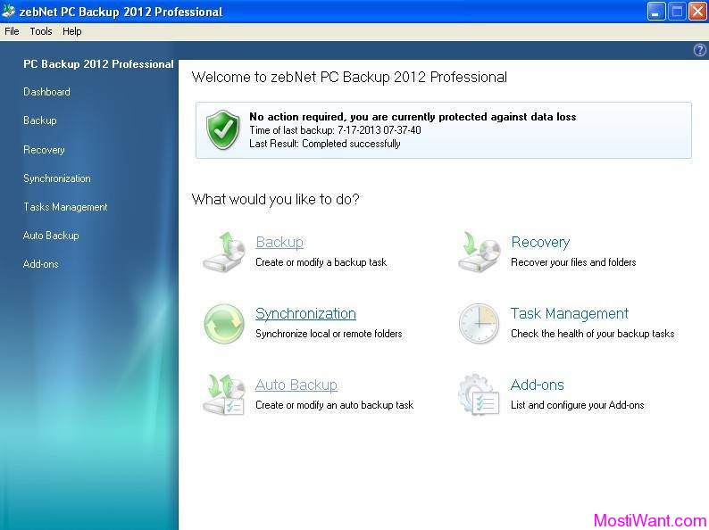 zebNet PC Backup 2012 Professional
