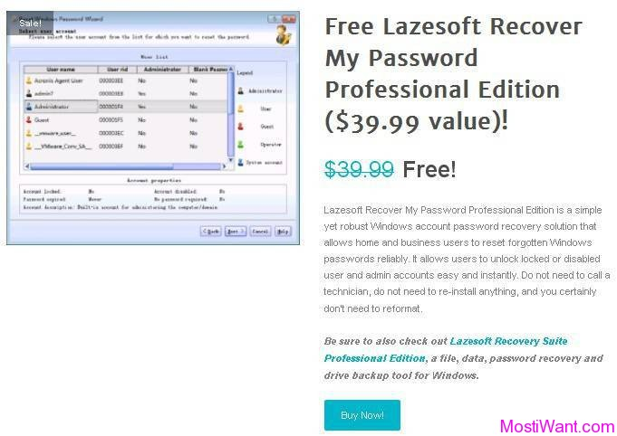 Lazesoft Recover My Password Professional Edition Giveaway