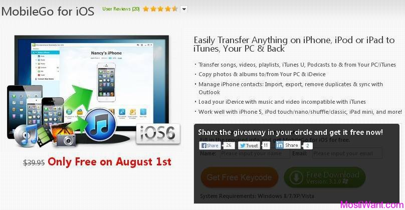 Wondershare MobileGo For iOS (Windows) Free Giveaway