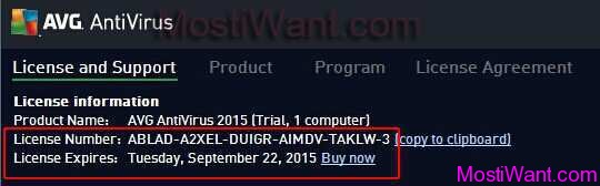 avg trial version license number