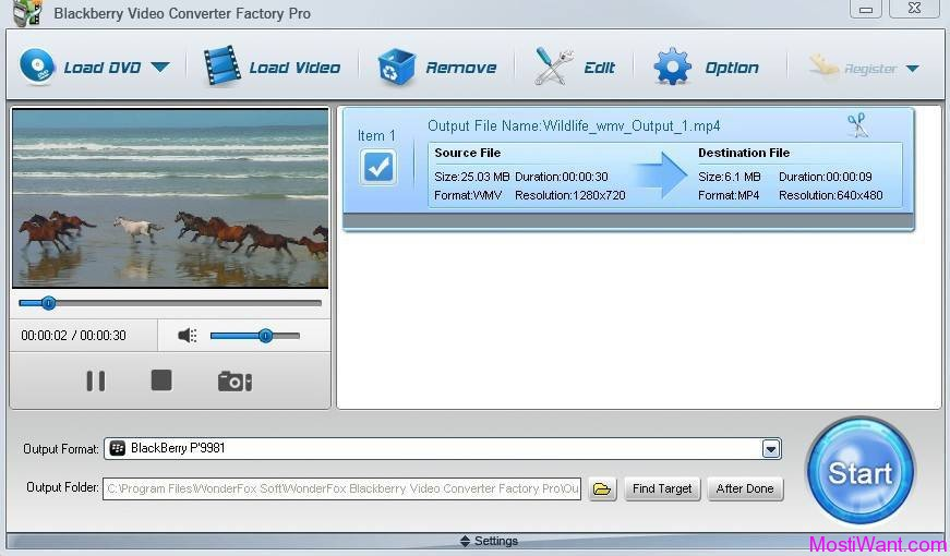 WonderFox BlackBerry Video Converter Factory Pro