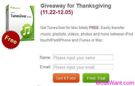 iSkysoft TunesOver for Mac Giveaway