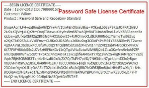 Password Safe and Repository Standard License Certificate