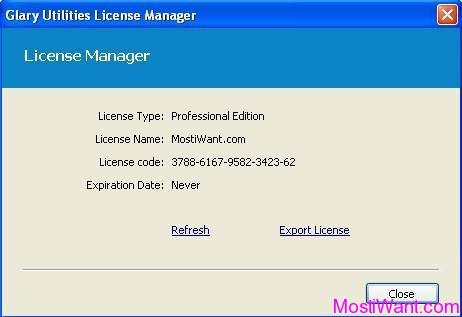 Glary Utilities Pro License Manager