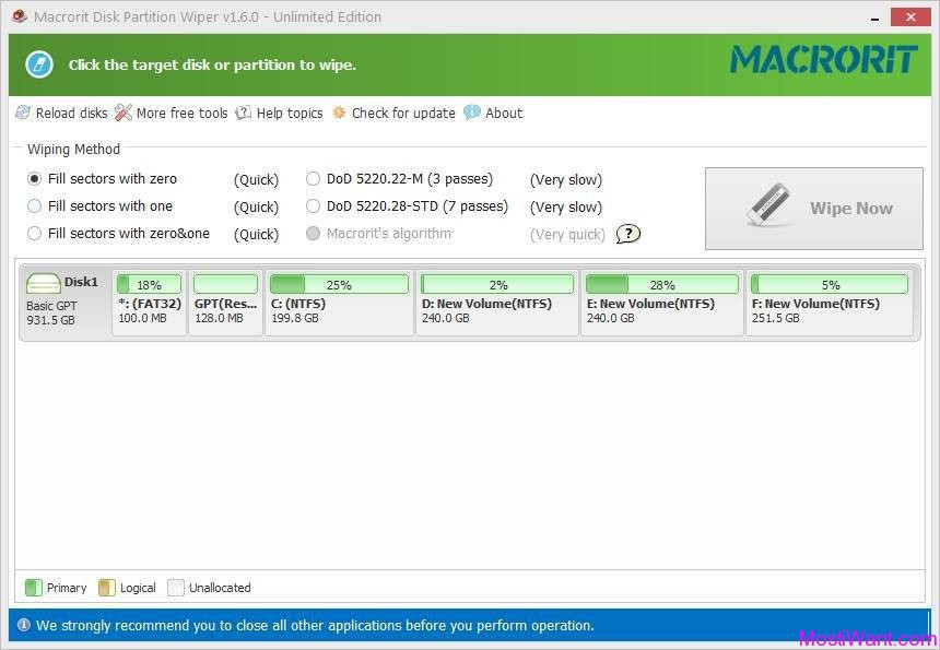 Macrorit Disk Partition Wiper Unlimited Edition