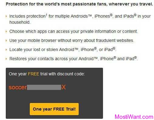 Norton Mobile Security Premium One year FREE trial with discount code