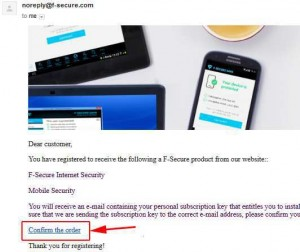 F-Secure Internet Security 2015 - order confirmation