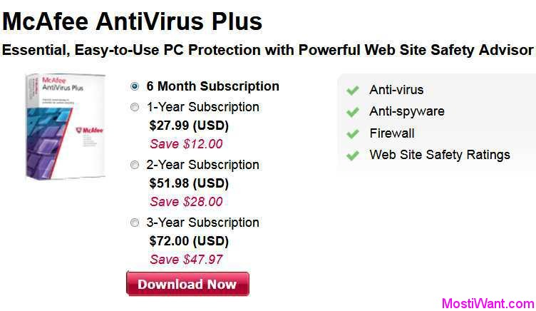 McAfee Antivirus Plus 2018 Free Download