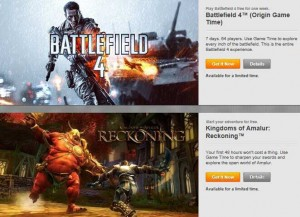 Battlefield 4 and Kingdoms of Amalur Free Play