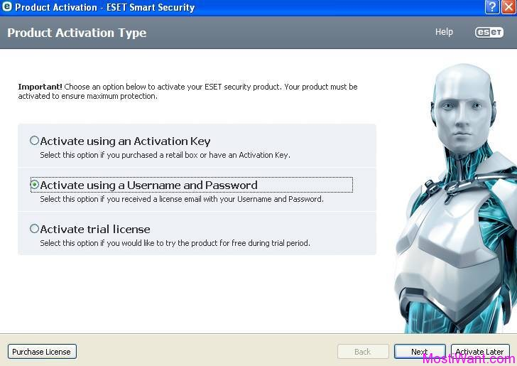 ESET Smart Security 8 Active using Username and Password