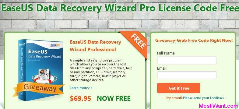 EaseUS Data Recovery Wizard Pro Free Givaway