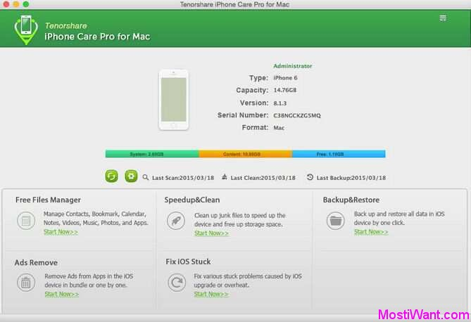 Tenorshare iPhone Care Pro for Mac