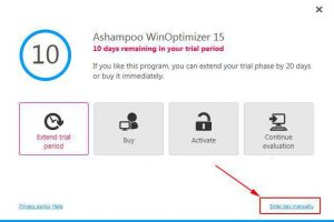 Ashampoo WinOptimizer 15 Enter Key