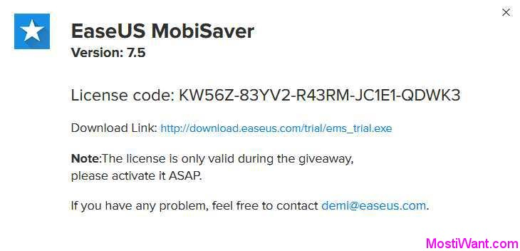 EaseUS MobiSaver For iOS 7.5 License Code