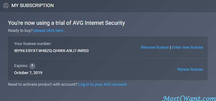 activate avg free license number