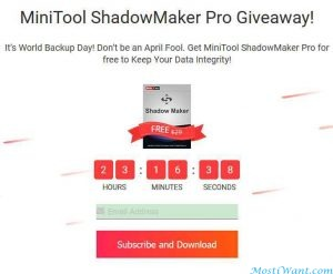 MiniTool ShadowMaker Pro 3.1 Free Giveaway