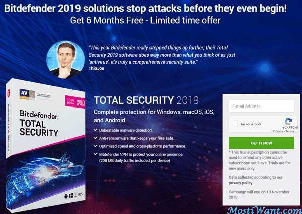 Bitdefender Total Security 2019 Free 6 Months Trial